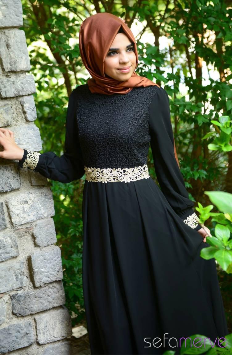 Tesettür Elbise Fy Collection Tesettür Elbise FY 51983-07 Siyah