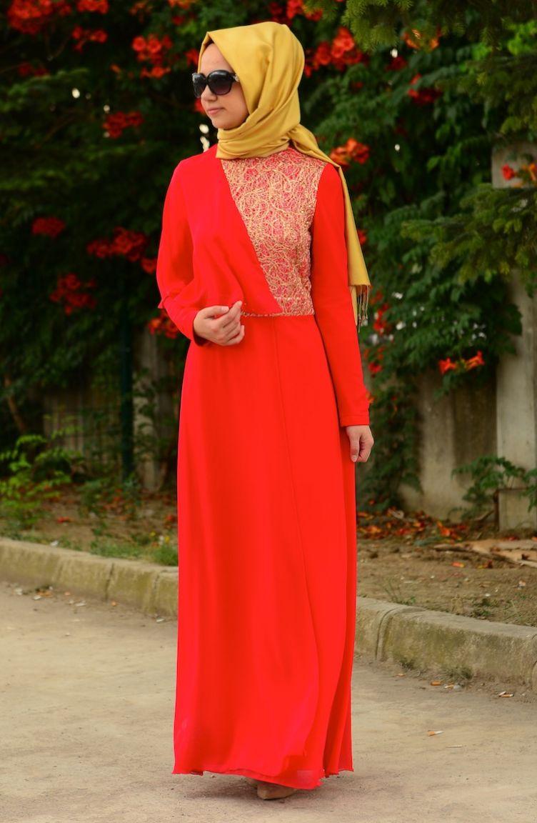 Sefamerve Abiye Modelleri ZRF Tesettür Elbise 0449-01 Kırmızı