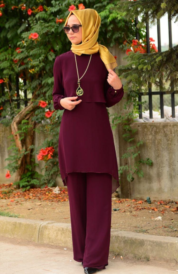 Tesettür Elbise Fy Collection Tunik Pantolon Takım FY 62288-01 Mürdüm