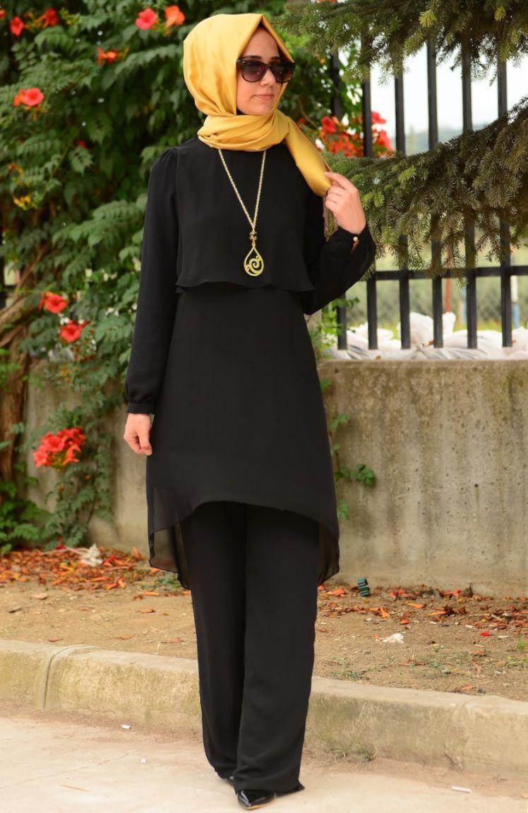 Tesettür Elbise Fy Collection Tunik Pantolon Takım FY 62288-03 Siyah
