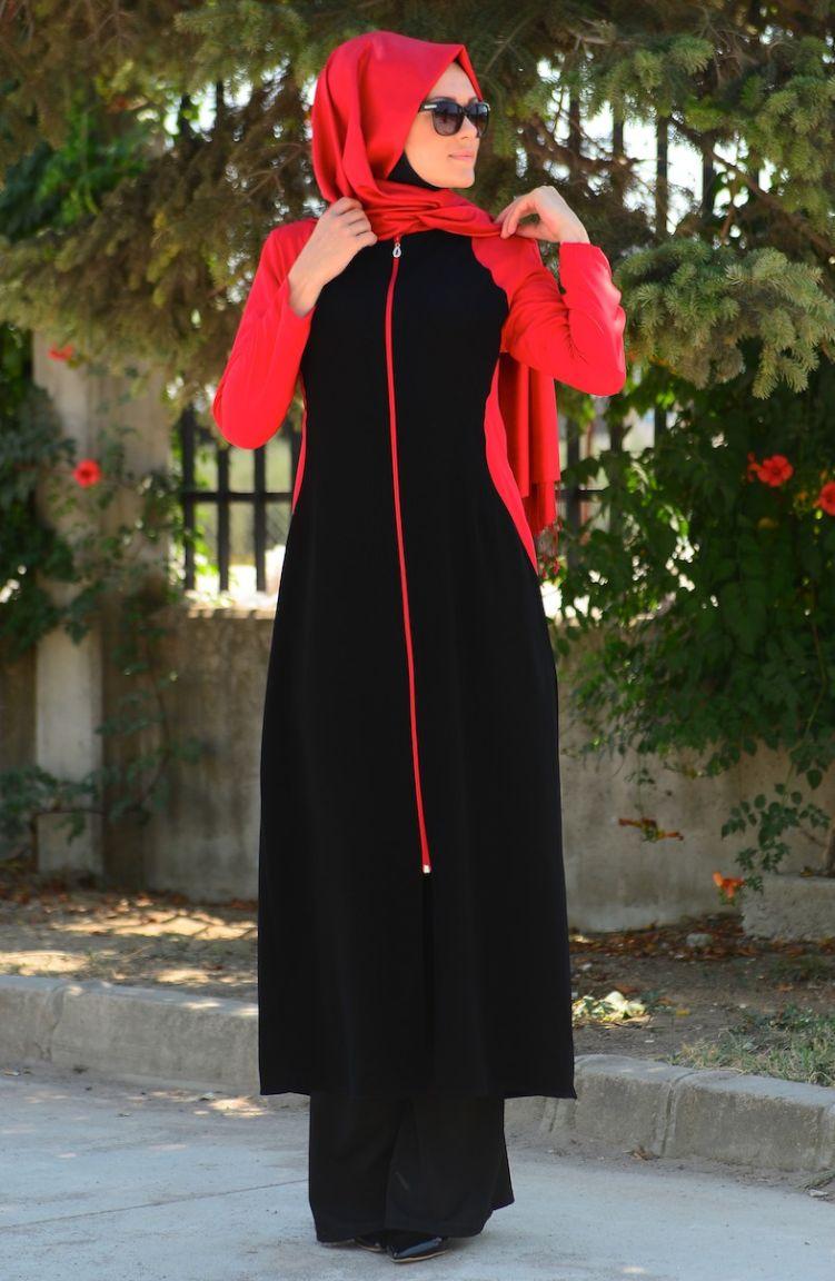 Sim Feraceler Sim Ferace Modelleri 6457-04 Siyah Kırmızı